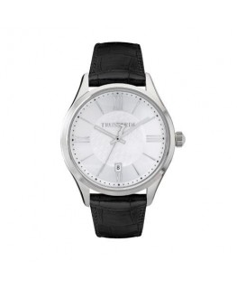 Trussardi Tfirst gent 43mm 3h silver dial blk st