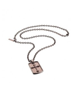 Police Knights cross pend.brown cross bwn chain