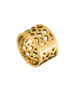 Tommy Hilfiger Plated brass pierced open ring gp - 56