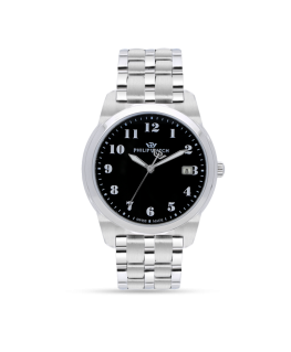 Philip Watch Timeless gent 38mm 3h black dial ss br