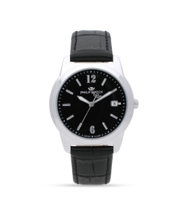 Philip Watch Timeless gent 38mm 3h black dial blk st