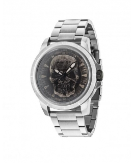 Police Reaper 3h silver dial ss br