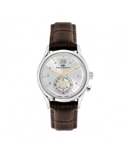Philip Watch Sunray 39mm 3h silver dial brown st