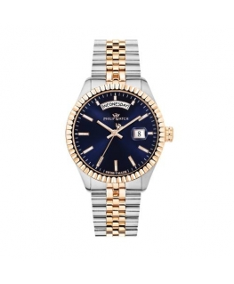 Philip Watch Caribe 39mm 3h blue dial br rg/ss
