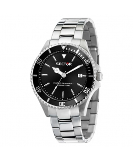 Sector 230 43mm 3h black dial br ss uomo R3253161016