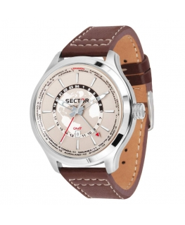 Orologio Sector Traveller dual time marrone - 46 mm