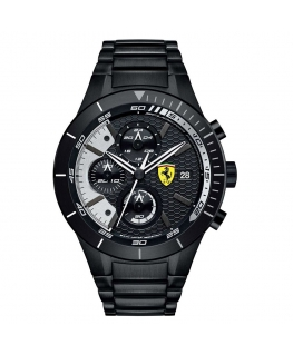 Orologio Ferrari RedRev crono acciaio nero - 44 mm