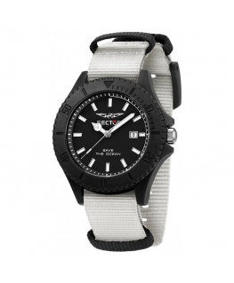 Sector Save the ocean 43mm 3h blk dial white st maschile
