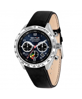 Sector 695 eco solar chr 45mm blue dial blk st uomo R3271613002