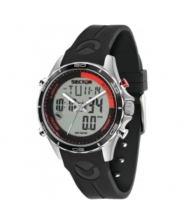 Sector Master 45mm 3h grey+digital dial blk st uomo R3271615002