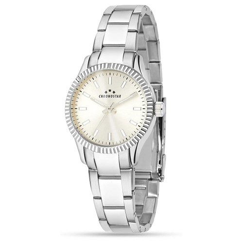Chronostar Luxury 3h 31mm ivory dial br ss