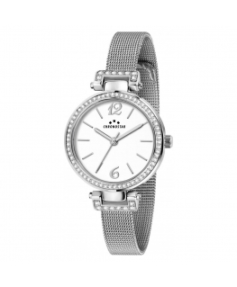 Chronostar Burlesque 30mm 3h white dial mesh br ss
