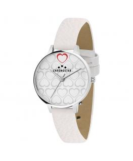 Chronostar Glamour 30mm 3h white dial white strap