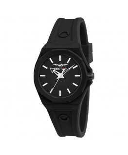 Sector 960 33mm 3h black dial black silicon st femminile