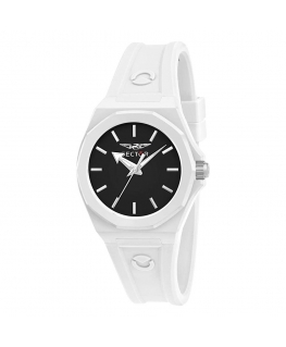 Sector 960 33mm 3h black dial white silicon st femminile