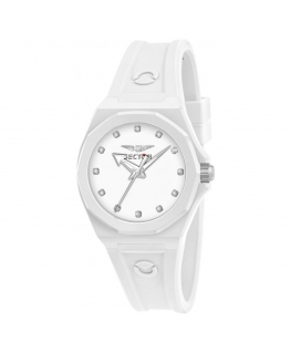 Sector 960 33mm 3h white dial white silicon st femminile