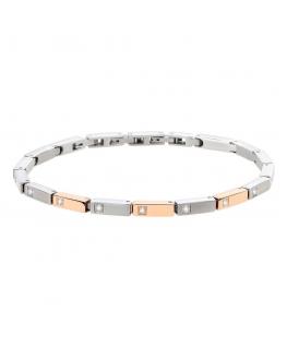 Morellato Cross bracelet ss+ip rg white stones uomo SKR51