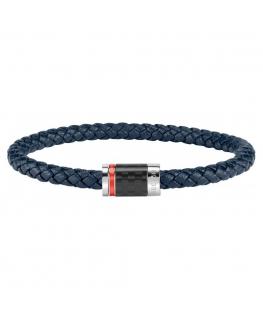 Bracciale Sector Bandy pelle blu / carbonio - 21 cm