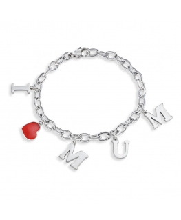 Sector Gioielli Love and love br. heart w/red enamel donna