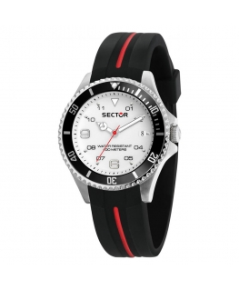 Sector 230 39mm 3h white dial silicon black st uomo R3251161040