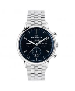Philip Watch Truman chr 41mm blue dial br ss uomo R8273695003