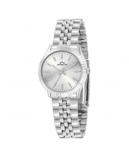 Chronostar Luxury 34mm 3h silver dial bracelet ss
