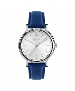 Orologio Mini donna pelle blu / silver - 38 mm