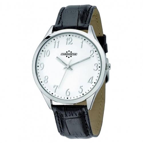 Chronostar Marshall 3h 42mm white dial black str ss