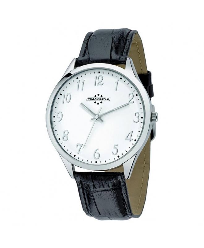 Chronostar Marshall 3h 42mm white dial black str ss - galleria 1