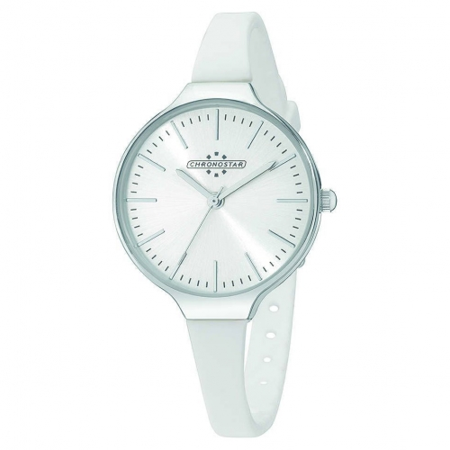 Chronostar Toffee 3h 30mm silver dial white s st ss