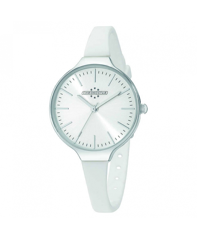 Chronostar Toffee 3h 30mm silver dial white s st ss - galleria 1