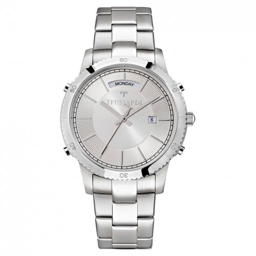 Trussardi T-style 41mm 3h silver dial br ss