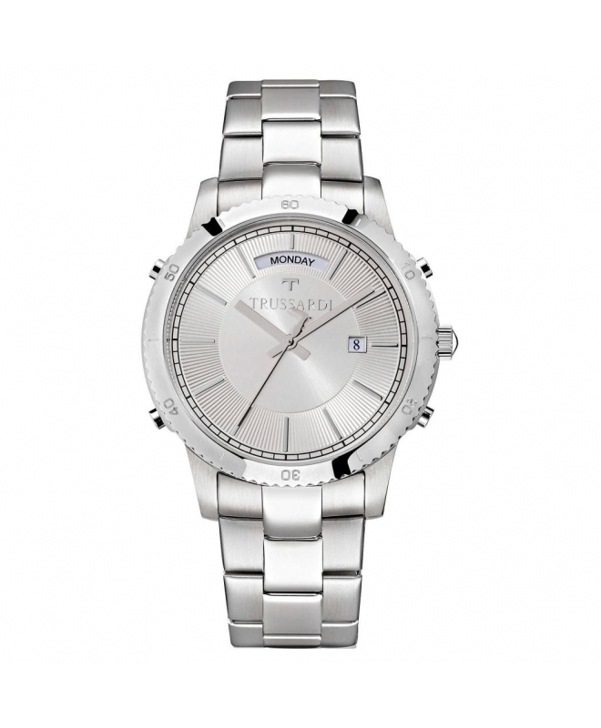 Trussardi T-style 41mm 3h silver dial br ss - galleria 1