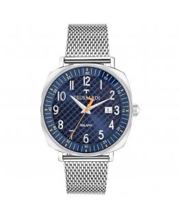 Trussardi T-king 39.5mm 3h blue dial ss mesh