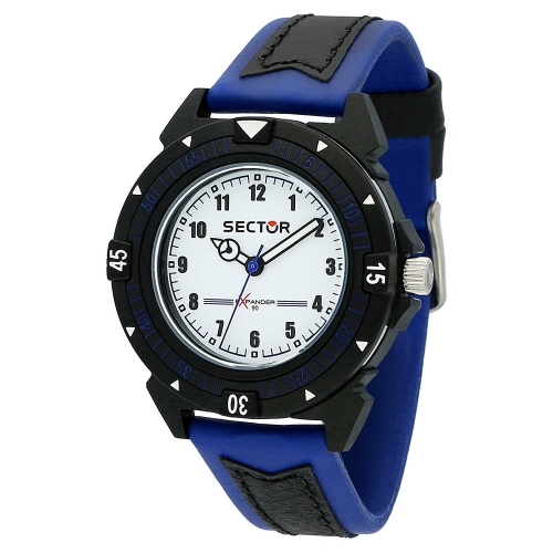 Sector Expander 90 40mm 3h white dial blue st uomo R3251197061