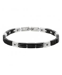 Morellato Cross bracelet ss+ip black jet stones uomo SKR49