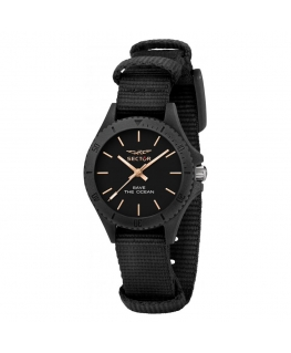 Sector Save the ocean 32mm 3h blk dial blk st femminile