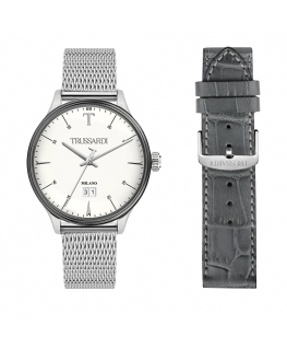 Trussardi T-complicity 41mm 3h w/silver dial br ss