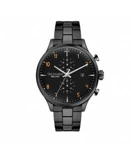 Trussardi T-complicity 45mm chr black dial br blk
