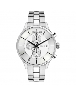 Trussardi T-complicity 45mm chr silver dial br ss