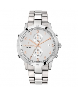 Trussardi T-style 44mm chro w/silver dial br ss