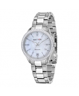 Sector 245 31mm 3h w/crystals mop dial ss br donna R3253486502