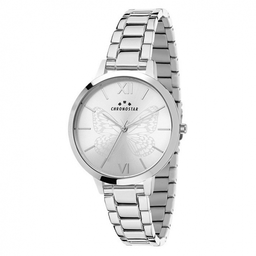 Chronostar Glamour 30mm 3h w/silver dial ss br
