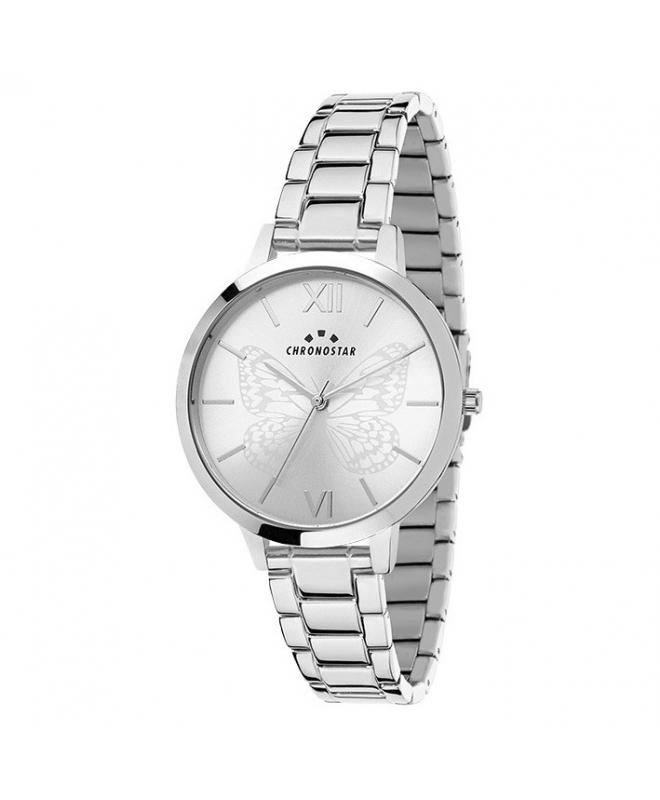 Chronostar Glamour 30mm 3h w/silver dial ss br - galleria 1