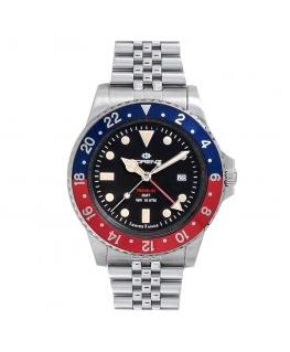 Orologio Lorenz Travel-24 GMT swiss made rosso / blu - 40 mm