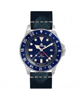 Orologio Lorenz Travel-24 GMT swiss made pelle / blu  - 40 mm