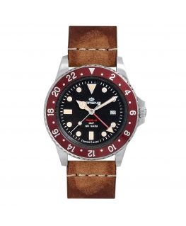 Orologio Lorenz Travel-24 GMT swiss made pelle / rosso  - 40 mm