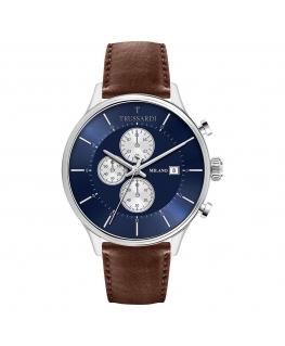 Trussardi T-complicity 45mm chr blue dial brown st