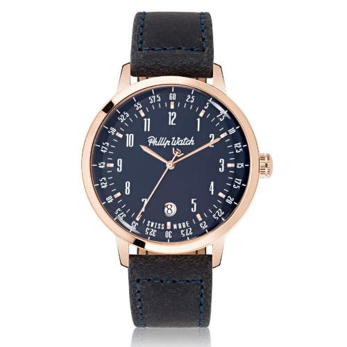 Philip Watch Grand archive 1940 43mm3h blue dial bl s uomo