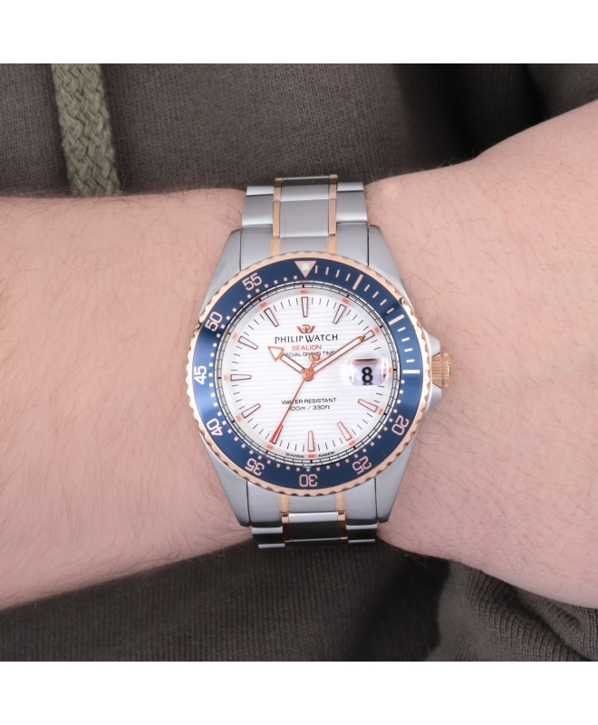 Philip Watch Sealion 42mm 3h w/silver dial br ss+rg uomo - galleria 2